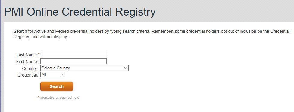 PMI Online Credential Registry